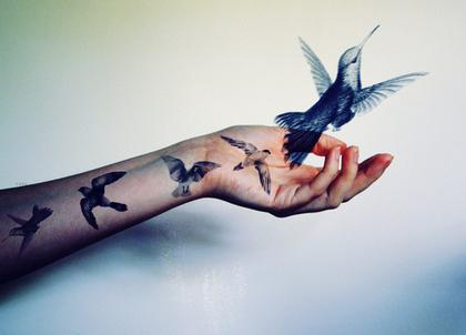Une Main Tatoue D Oiseaux